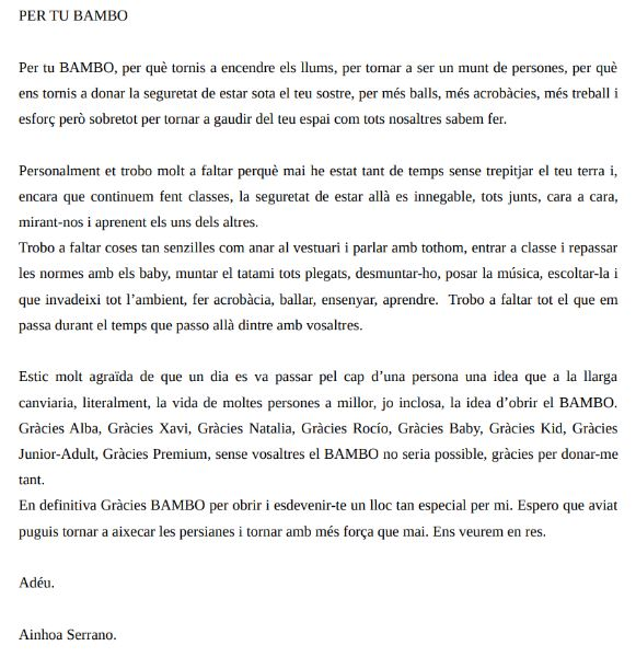Carta alumna i profesora de dansa i fitkid d'Entre BAMBOlines a Sant Andreu de la Barca. Ainhoa Serrano.