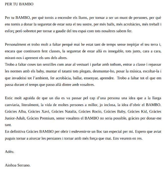 Carta alumna y profesora de danza y fitkid de Entre BAMBOlines en Sant Andreu de la Barca. Ainhoa Serrano.