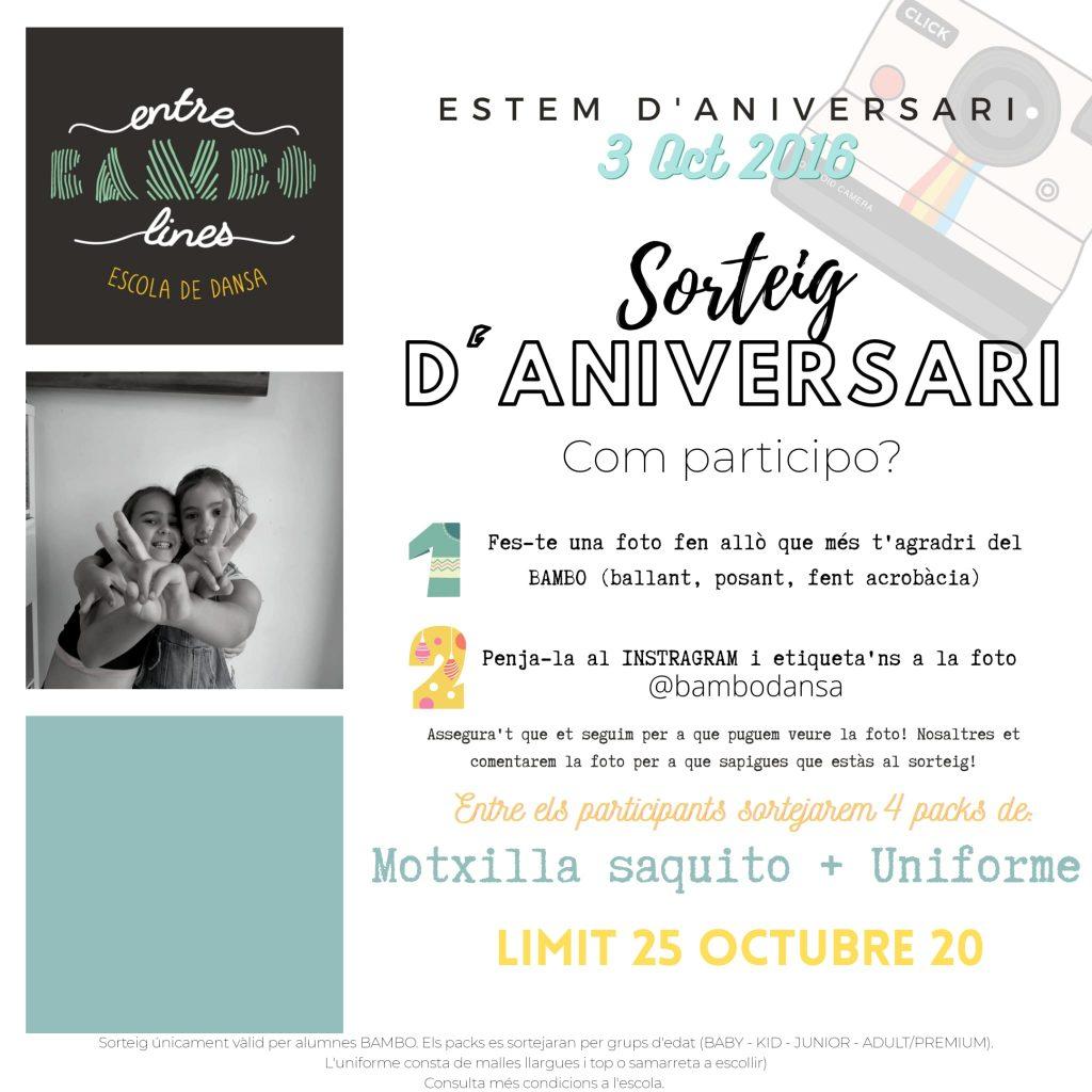 Sorteo Aniversario Entre BAMBOlines Sant Andreu de la Barca